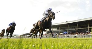 Kevin Manning riding Trading Leather to win The Dubai Duty Free Irish Derby at Curragh last year. Photo:  Alan Crowhurst/Getty