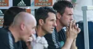 Celtic manager Ronny Deila (right): his side is 1-0 up from the first leg and will face either Polish side Legia Warsaw or St Patrick's Athletic in the next qualifier if success at Murrayfield. Photograph: Getty Images