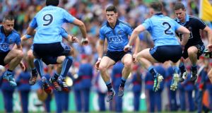 Dublin's  Diarmuid Connolly and his team-mates warm up before the second half of last  Sunday's Leinster final. Photo: Cathal Noonan/Inpho