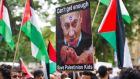 Pro-Palestinian demonstrators at the Israeli embassy in Berlin. Photograph: Epa/Daniel Bockwoldt