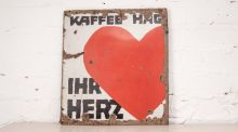 Industrial Cool: This German Kaffee Hag sign (above), 62cm by 57cm, in rusted original condition, normally €150, is reduced to €135