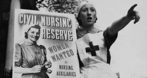 'We must believe that this war was fought and won in order to preserve decency': recruitment poster for the Civil Nursing Reserve in London in April 1939. Photograph  Keystone-France/Gamma-Keystone/Getty Images