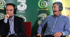 Republic of Ireland manager Martin O'Neill, left, and assistant manager Roy Keane during their first live joint interview, at the introduction of Club Ireland, an FAI premium ticketing scheme. Photograph:  Barry Cregg/Sportsfile
