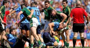 The incident in which Meath's Mickey Burke and Dublin's Eoghan O'Gara clashed at Croke Park last Sunday. Photograph: Inpho.