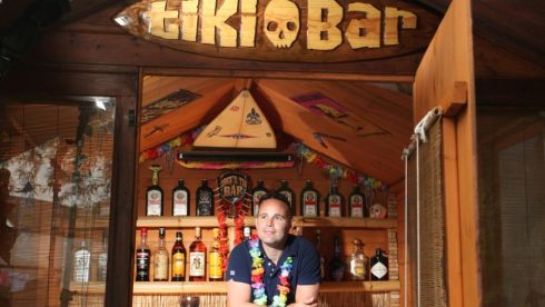 Stephen from Wakefield, a finalist for his Lodge's Tiki Bar in the pub category of the 2014 Shed of the Year competition.