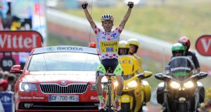Saxo Tinkoff   rider Rafal Majka of Poland celebrates as he crosses the finish line to win the 17th stage of the  Tour de France  from Saint-Gaudens to Saint-Lary-Soulan Pla d'Adet. Photograph: Nicolas Bouvy/EPA