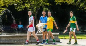 In attendance at the launch of the  All-Ireland Series, from left, Robert Hennelly, Mayo, Dublin's Jonny Cooper,  Karl Lacey, Donegal (with the Sam Maguire cup), and Kerry's James O'Donoghue at  St Stephen's Green, Dublin. Photo:  Ray McManus/Sportsfile
