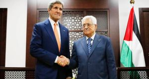US Secretary of State John Kerry meets Palestinian Authority President Mahmoud Abbas in  Ramallah. Israeli forces pounded Gaza on Wednesday, meeting stiff resistance from Hamas Islamists and sending thousands of residents fleeing, as US Secretary of State John Kerry said on a visit to Israel ceasefire talks had made some progress. Photograph: Charles Dharapak/Reuters