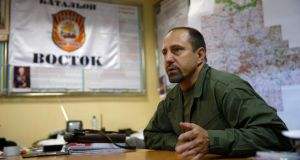Rebel commander Alexander Khodakovsky of the Vostok Battalion speaks during an interview in Donetsk in this July 8th, 2014 file photo. A powerful Ukrainian rebel leader has confirmed that pro-Russian separatists had anti-aircraft missiles of the type Washington says were used to shoot down Malaysia Airlines flight MH17. Photograph: Maxim Zmeyev/ Reuters