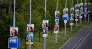 General view of  election posters along the N11 near Cabinteely, Co Dublin during the campaign.Photograph: Cyril Byrne / The Irish Times