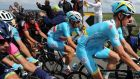 Astana Pro Team's Vincenzo Nibali (centre) sits inside the peloton before his fourth stage win.  Photograph: Anna Gowthorpe/PA Wire