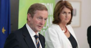 Taoiseach Enda Kenny and Tanaiste Joan Burton speak to reporters at the publication of the Action Plan for Jobs in Dublin this afternoon. Photograph: Collins