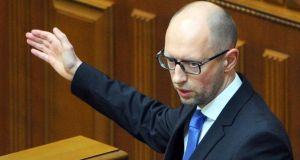 Ukraine's government stepped down today, prime minister Arseniy Yatsenyuk announced, clearing the way for elections in October as the country finds itself in the grip of events threatening to tear it apart. Photograph: Andrew Kravchenko/EPA