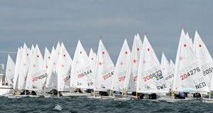 Competitors jockey for position  in the Laser European and World Sailing Championships at Dun Laoghaire last summer.  Photograph: Eric Luke