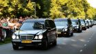 The convoy of funeral hearses arrives at the Korporaal van Oudheusdenkazerne in Hilversum, The Netherlands today after a Dutch Air Force C-130 Hercules plane and an Australian Royal Australian Air Force C17 transport plane brought back 74 more coffins containing remains of the victims of the Malaysia Airlines MH17 plane crash, from Kharkiv in eastern Ukraine to the Eindhoven air base in the Netherlands. Photograph: Piroschka van de Wouw/EPA