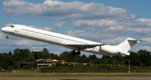 The Swiftair MD-83 airplane, which crashed yesterday, is seen taking off from Hamburg airport in June.