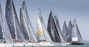 The start of race four with Ireland's Antix in a clear position in the middle of the fleet on the fifth day of racing in the Brewin Dolphin Commodores' Cup at Cowes. Photograph: David Branigan/Oceansport