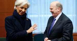 International Monetary Fund managing director Christine Lagarde and Minister for Finance  Michael Noonan. Ireland would need the full agreement of EU member states to separate the IMF and European portions of the bailout package. Photograph: Francois Lenoir/Reuters