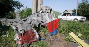 A piece of the wreckage is seen at a crash site of the Malaysia Airlines Flight MH17 in the village of Petropavlivka (, Donetsk region. Photograph: Maxim Zmeyev/Reuters