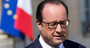 French president Francois Hollande delivers a speech regarding the situation of the Air Algeria flight. According to the French president no survivors were found on the crash site. Photograph: Etienne LAurent /EPA