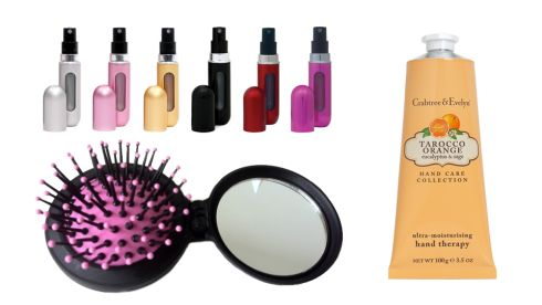Travalo Refillable Perfume Atomiser, €14.99 secretfashionfixes.ie Compact hairbrush, 4.29 Denman at Boots Tarocco Orange Hand Therapy,  €16 Crabtree & Evelyn