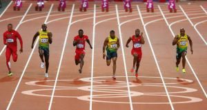 Usain Bolt, second left, wins the London Olympics 100 metres final from Jamaican compatriot Johan Blake, fourth left, and American Justin Gatlin, third left. Photograph: Amin Mohammad Jamali/Gallo Images/Getty Images
