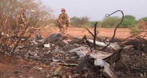 The crash site of Air Algerie flight AH5017 is seen near the northern Mali town of Gossi. Photograph: Handout via Reuters