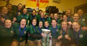 The Irish women's team that won the Grand Slam in 2013. Players have been banned from talking to journalists for exclusive columns to appear in print or online during the upcoming World Cup.  Photograph: Inpho