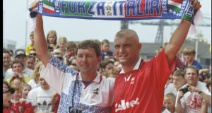 Then Middlesbrough manager Bryan Robson introduces new signing Fabrizio Ravanelli of Italy at the Riverside Stadium in July 1996. Photograph: Allsport.