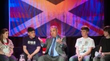 Scotland's First Minister Alex Salmond holds a Q&A session with youngsters during a visit to the Scottish Youth Theatre in Glasgow