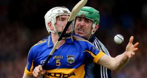 Tipperary's Brendan Maher comes under pressure from Dublin's  Ryan O'Dwyer. Photo: James Crombie/Inpho