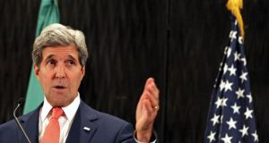"Speaking in Cairo, US secretary of state John Kerry said both sides still had some ""terminology"" to agree on but that they had a ""fundamental framework"" for a ceasefire. Photograph: EPA"