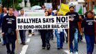People taking part in the Ballyhea Bondholders Bail-out Protest. Photograph: Eric Luke