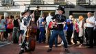The Dublin City Rounders country and western duo playing on Wicklow Street, Dublin, this weekend. Photograph: Aidan Crawley