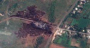 A satellite image of the MH17 crash site.  Photograph: EPA