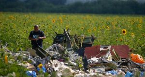 A Malaysian air crash investigator inspects the crash site of Malaysia Airlines Flight MH17. Photograph: Reuters
