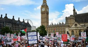 Thousands of pro-Palestinian demonstrators protest outside parliament in London, Britain, today. Photograph: Andy Rain/ EPA