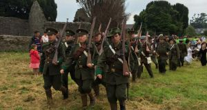 Members of the Lord Edward's Own historical re-enactment group taking part on Saturday in Kilcoole's heritage weekend marking the north Wicklow village's role in the Irish Vonunteer gun running 100 years ago. Photograph: Peter Murtagh