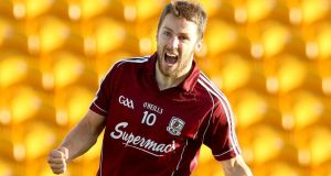 Galway's Michael Lundy celebrates after he scored his sides fourth goal against Tipperary in Tullamore.  Photograph: James Crombie / Inpho
