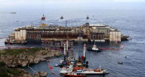 The refloat operation for the   Costa Concordia cruise ship on Giglio Island. Photograph: Reuters