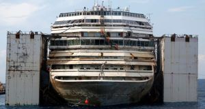 The Costa Concordia cruise liner is seen during its refloat operation at Giglio harbour. Photograph: Reuters