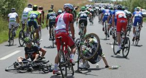 Riders have described landing on the top, horizontal tube of the bikes during crashes and ending up on the road after their frames splintered and collapsed. Photograph:  Doug Pensinger/Getty Images