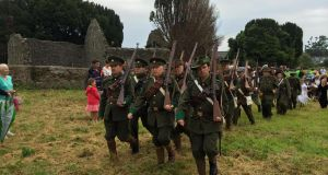 Members of the Lord Edward's Own historical re-enactment group at Kilcoole's heritage weekend marking the north Wicklow village's role in the Irish Volunteer gun-running 100 years ago. Photograph: Peter Murtagh