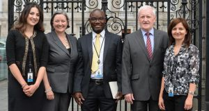 Interns at Leinster House: L to R, Sheelan Yousefizadeh, TD Marcella Corcoran Kennedy, Ebisinbofa Charles Titus, TD Tony McLoughlin and Larysa Karankovich. Photograph: Cyril Byrne