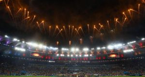 A general view of the stadium during fireworks in the 2014 FIFA World Cup Brazil Final match between Germany and Argentina Photograph: Getty Images