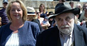 Nessa and Rory Childers on Howth Pier for the Asgard centenary celebrations. Photograph: Cyril Byrne