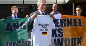 Germany's departing ambassador, Dr Eckhard Lübkemeier, embraces the spirit of Irish Euro 2012 supporters. Photograph: Dara Mac Dónaill