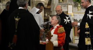 Knights of Malta Fra' Paul Caffrey during his solemn profession before The Prince and Grand Master Fra' Matthew Festing at St Kevin's Church in Dublin at the weekend. Photograph: Cyril Byrne
