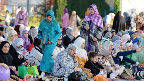 ITALY: Muslims attend Eid al-Fitr mass prayers in Turin, northern Italy. Photograph: Alessandro Di Marco/EPA