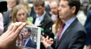 "Minister for Transport, Tourism and Sport Pascal Donohoe interviewed at the unveiling of the restored Molly Malone statue. The minister said the latest CSO tourism figures ""show that Irish tourism is having, yet again, another excellent year"". Photograph: Frank Miller / The Irish Times"